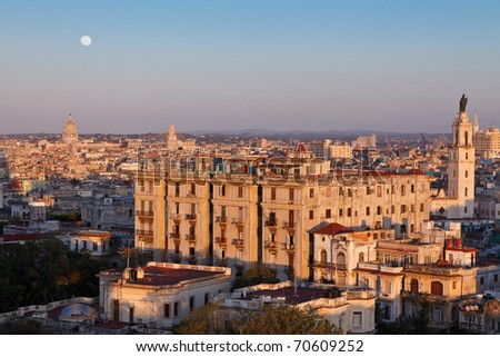 Full moon rising at sunset over Havana city, Cuba - stock photo
