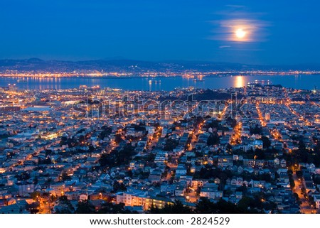 Full Moon Rising Over San Francisco. Aerial View From Twin Peaks. - stock photo