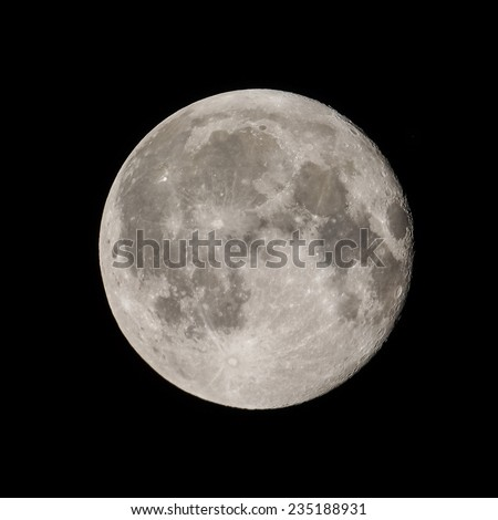 Full moon seen from a telescope from northern emisphere - stock photo