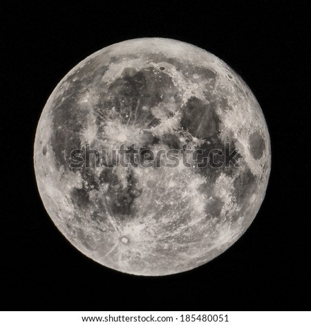 Full moon seen from a telescope from northern hemisphere  - stock photo