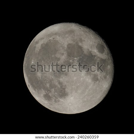 Full moon seen through a telescope image taken with my own telescope  no NASA images used - stock photo