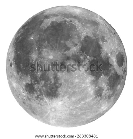 Full moon seen with a telescope from northern emisphere - Isolated over white - stock photo