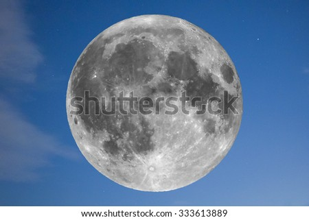 Full moon seen with an astronomical telescope over the blue sky (taken with my own telescope, no NASA images used) - stock photo