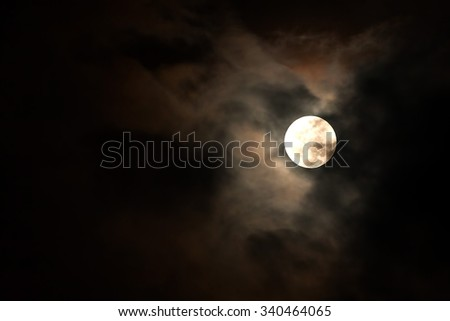 Full Moon Shining In The Sky, Blood Moon, Moonlight