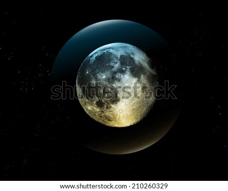 Full moon two tone on all stars  - stock photo