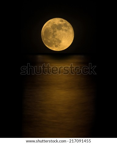 full moon with reflection - stock photo
