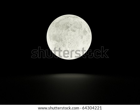 Full moon with shadow - stock photo
