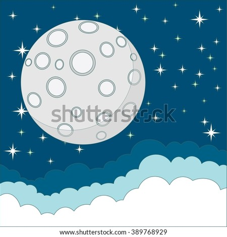 Full moon with space for text in the clouds. Stock illustration. - stock photo