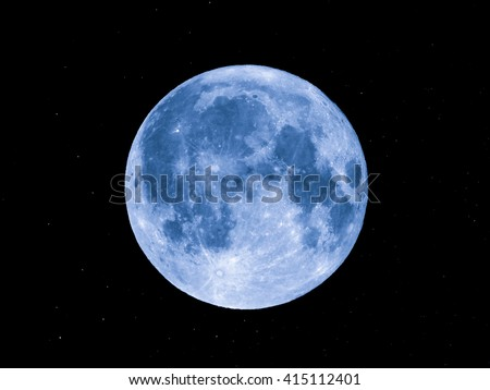 Full moon with stars - seen through my own telescope (no NASA images used) - stock photo