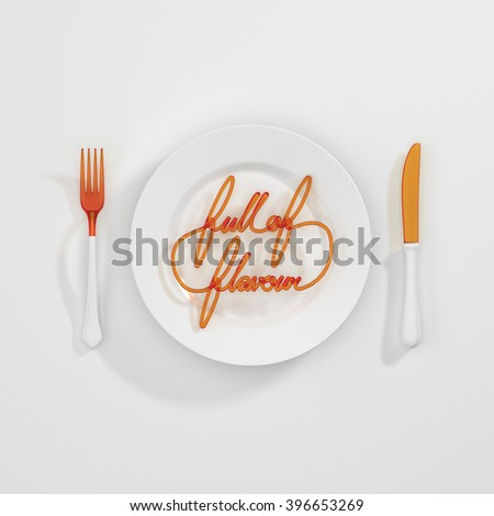 Full of Flavour Quote Typographical Background. minimal illustration with fork and knife 3D rendering - white and orange scheme - stock photo