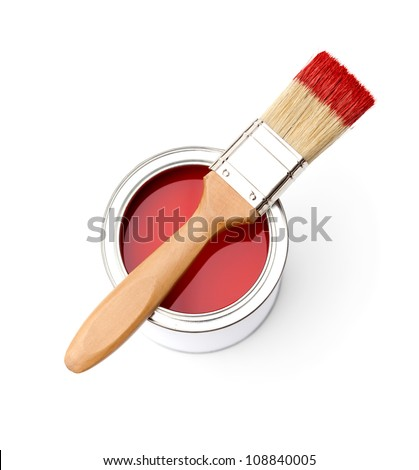 Full of red paint tin and paint brush on it, isolated on white - stock photo