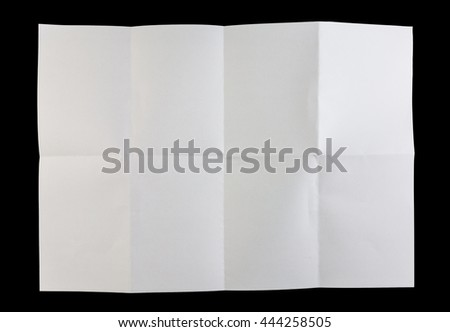 Full page of white paper folded and isolated on black background - stock photo