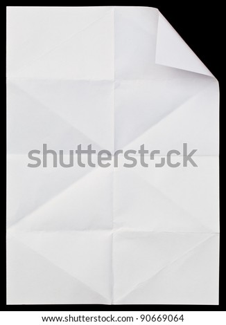 Full page of White paper folded and wrinkled on black background - stock photo