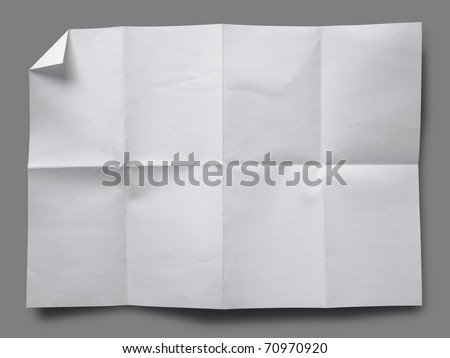 Full page of White paper folded and wrinkled on gray background with shadow - stock photo