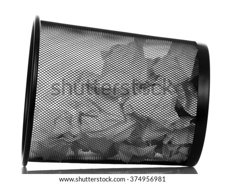 Full papers office basket isolated on white background - stock photo
