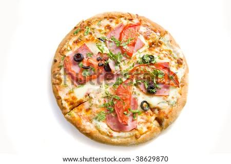 Full pizza on white ground - stock photo