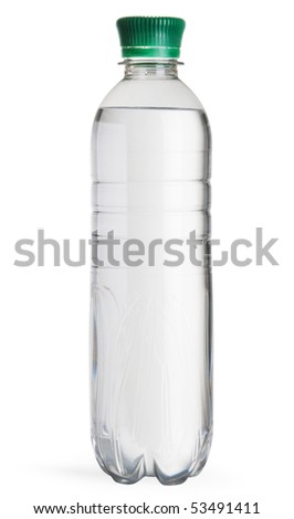 Full plastic water bottle isolated on white background