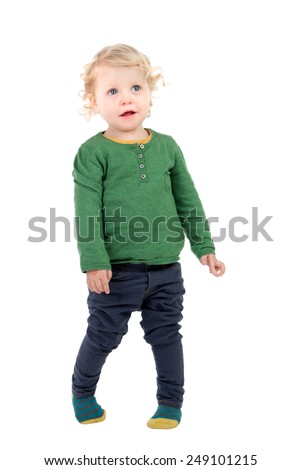 Full portrait of a beautiful baby isolated on a white background