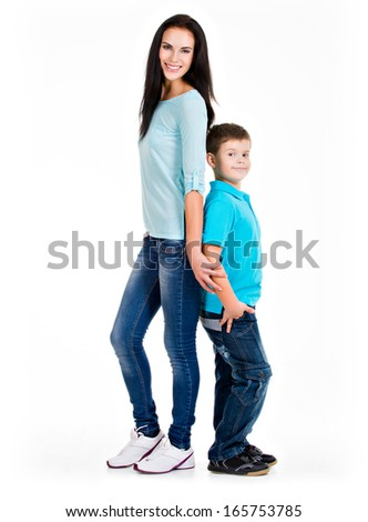 Full portrait of a happy young mother with son. Isolated on white