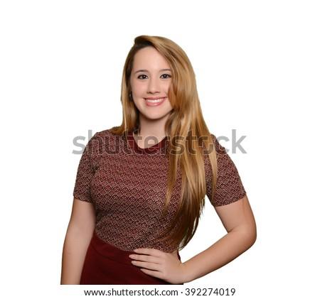 Full portrait of caucasian blonde girl smiling - stock photo