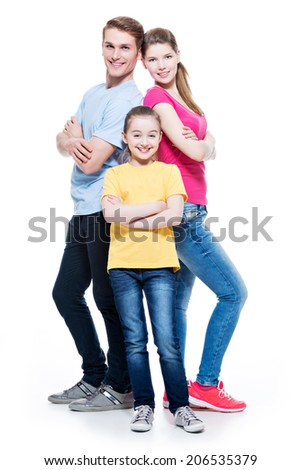 Full portrait of happy attractive family with daughter standing back to back at studio - isolated on white. - stock photo