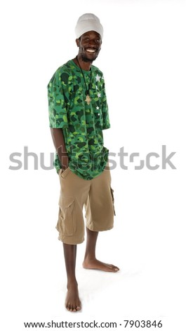 Full portrait of  rasta man - stock photo