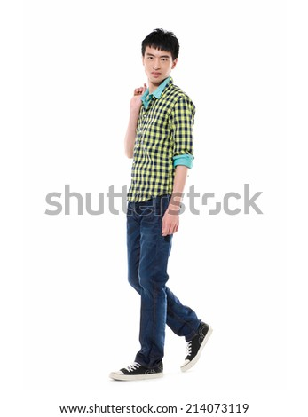 Full portrait of smiling walking man in shirt casuals isolated on white background