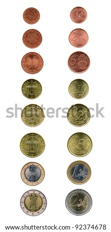 Full range of Euro coins currency over white - stock photo