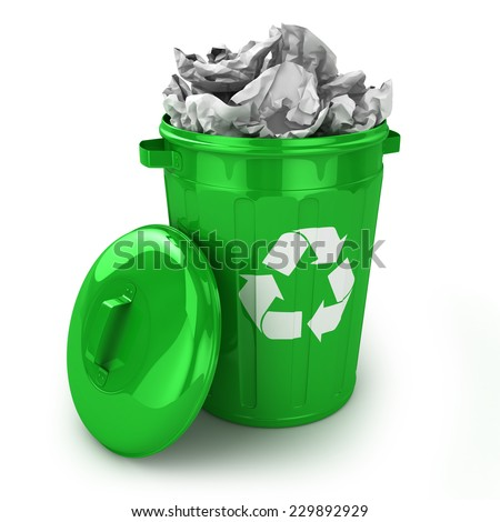 Full recycle bin isolated on white background - stock photo