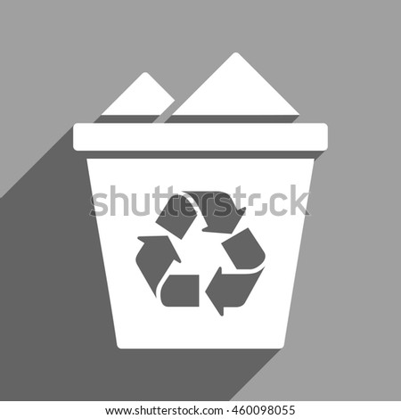 Full Recycle Bin long shadow glyph icon. Style is a flat full recycle bin white iconic symbol on a gray square background.