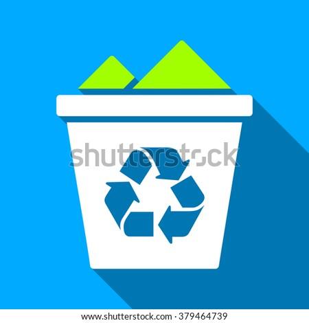 Full Recycle Bin long shadow raster icon. Style is a flat light symbol with rounded angles on a blue square background.
