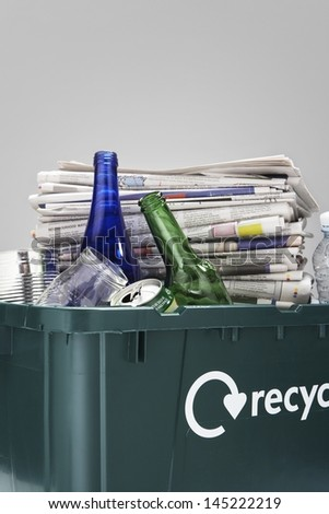 Full Recycling Container - stock photo