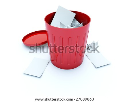 Full red bin icon isolated on white - stock photo