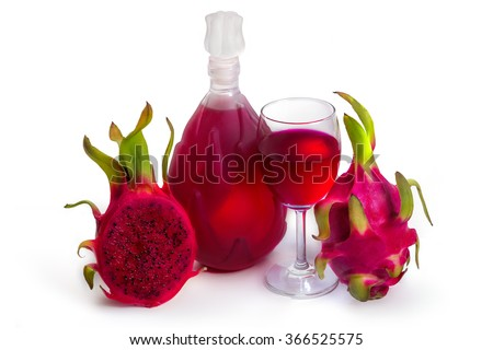 Full red Dragon Fruit wine glass goblet and bottle isolated on white background - stock photo