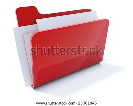 Full red folder icon isolated on white - stock photo