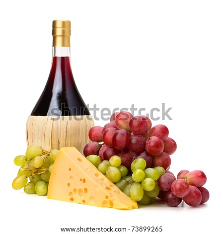 Full red wine bottle and grapes isolated on white background - stock photo