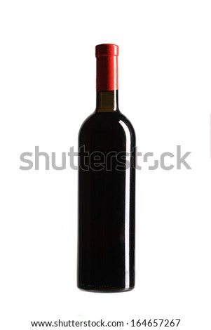 Full red wine bottle. Isolated on a white background.