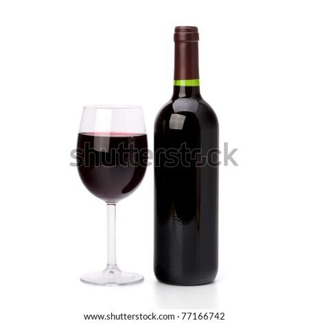 Full red wine glass goblet and bottle isolated on white background - stock photo