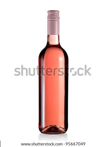 Full rose wine bottle - stock photo