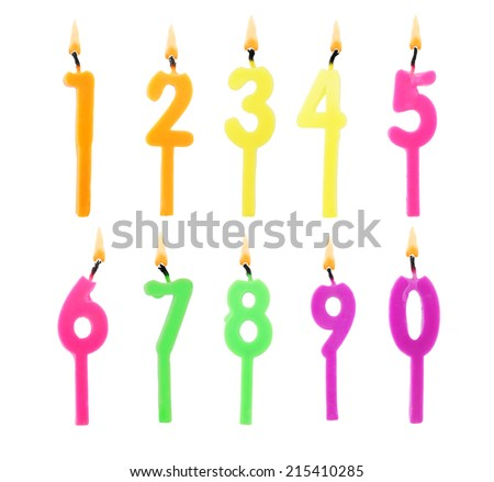 Full set of birthday candles on white background - stock photo