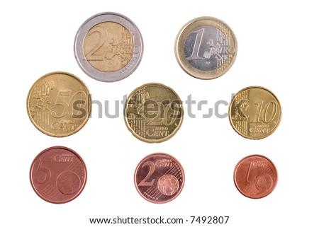 Full Set of European, Euro Coins - stock photo