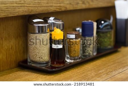 Full set of Japanese seasoning for ramen - stock photo