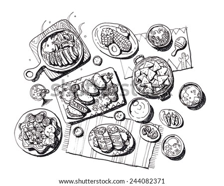 Full set of mexican food hand draw illustration - stock photo