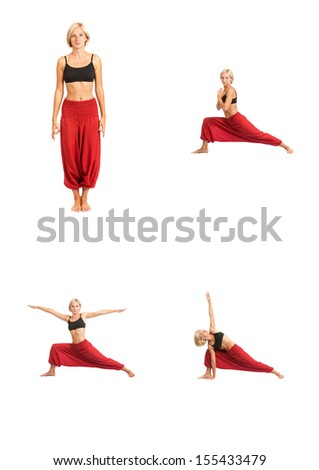 Full set of yoga asanas. Practicing Yoga. Young woman in traditional yoga clothes isolated on white background - stock photo