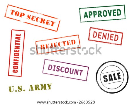 Full-size image of various stamps isolated on white paper background - stock photo