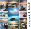 Full size seascape collection. Set for design. - stock photo