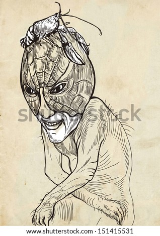 Full-sized (original) hand drawing. Halloween theme with scary monster. Sad zombie sitting in the guise of a lobster on his head. Black outlines drawing on old paper. - stock photo