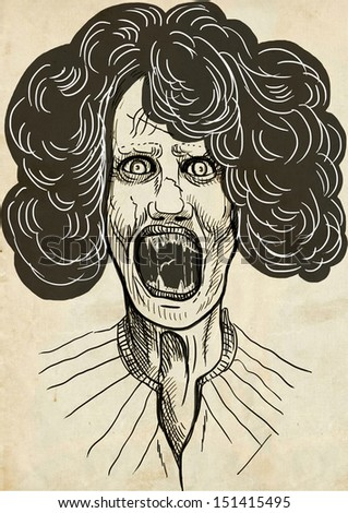 Full-sized (original) hand drawing. Halloween theme with scary monster. Vampire - rich hairstyle on the head. Drawing on old paper. - stock photo