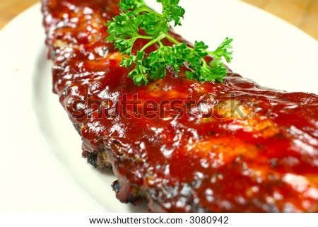 Full Slab of BBQ Ribs - stock photo