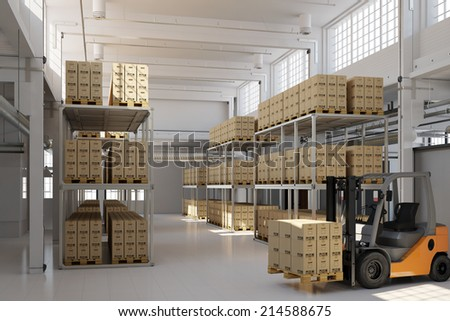 Full storage warehouse with many boxes and a forklift - stock photo
